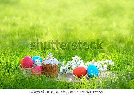 happy easter easter composition with orthodox sweet cake stock photo © illia