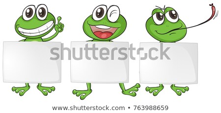 three blank papers with happy frogs stock photo © colematt