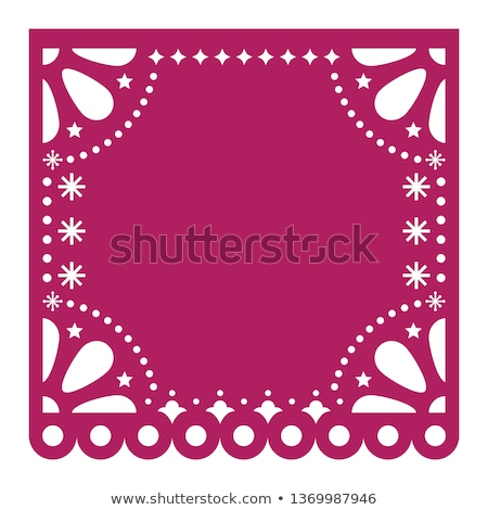 Papel Picado cutout vector template design, Mexican square paper fiesta decoration with no text Stock photo © RedKoala