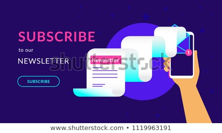Subscribe to our weekly newsletter flat vector neon illustration for ui ux web design. Flat vector i Stock photo © makyzz