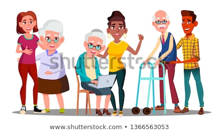 Caregivers, Volunteers, Grandparents, Grandkids Vector Cartoon Characters Stock fotó © pikepicture