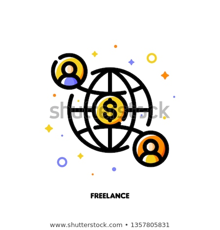 Stok fotoğraf: Icon Of Two Abstract People And Globe For Freelance Or Self Employment Concept
