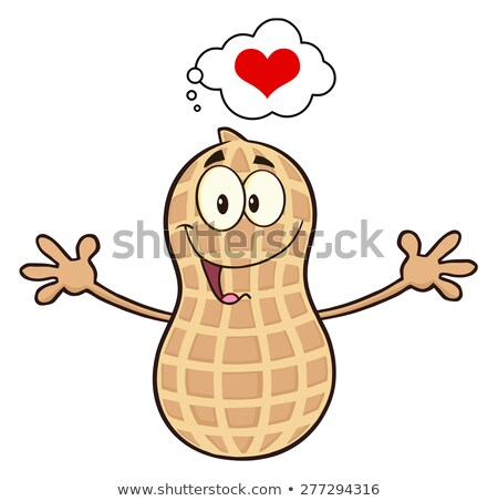funny peanut cartoon mascot character thinking of love and wanting a hug stock photo © hittoon