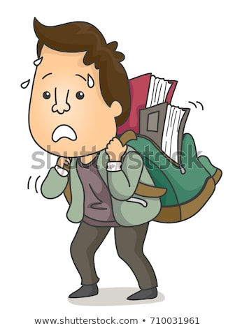 Man Books Bag Adult Learner Illustration Stock photo © lenm