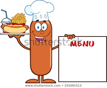 Sausage Cartoon Character Carrying A Hot Dog, French Fries And Cola Next To Menu Board Stock photo © hittoon