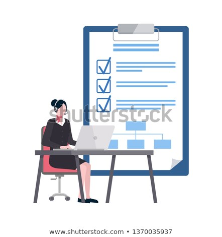 Worker Using Laptop, Goals List with Ticks Vector Stock photo © robuart