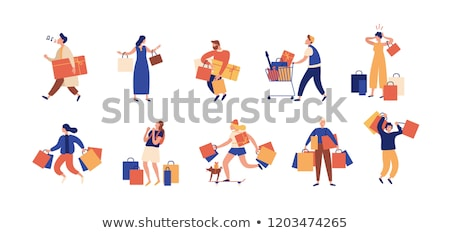 Character Young Woman Shopaholic With Bag Vector Stock photo © pikepicture