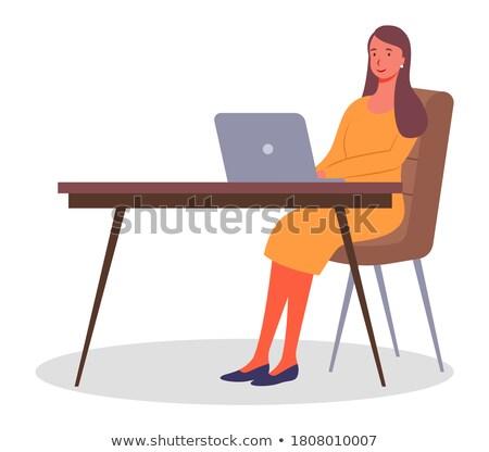 trabalhando · horas · extras · preguiçoso · trabalhador · de · escritório · ranzinza · computador - foto stock © toyotoyo
