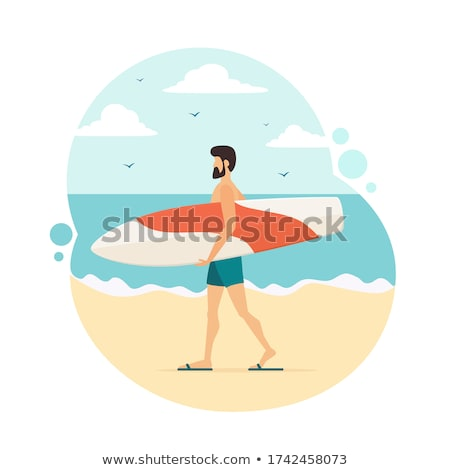 Surfer surfboard water activiteit vector man Stockfoto © robuart