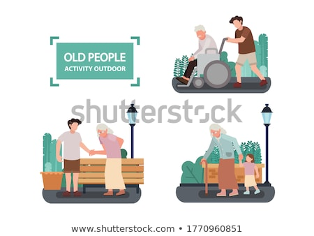 Aged People Walking in Park, Pensioner Vector Stock photo © robuart