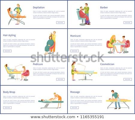 Spa salon pédicure barbier affiches Photo stock © robuart