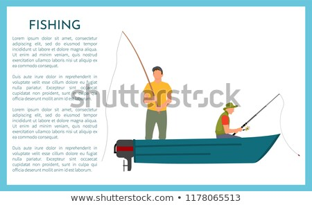 Men in Motorboat Fishing and Fisher with Catch Stock photo © robuart