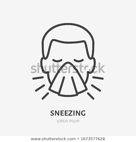 Character Man Sneezing Coughing Vector Sign Icon Stock photo © pikepicture