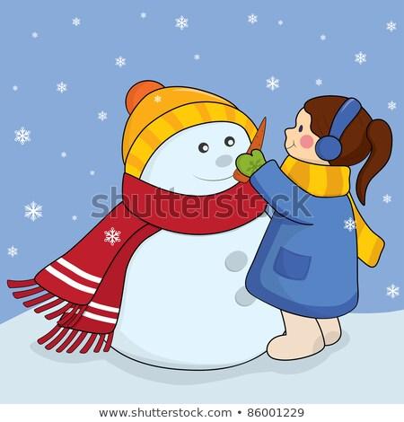 Boneco de neve jovem temporada de inverno mulher feliz inverno Foto stock © Lopolo