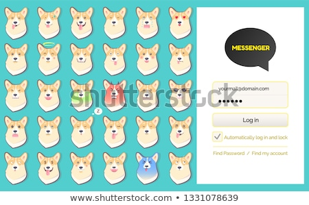 Hírnök beszéd bejelentkezés oldal kutya matricák Stock fotó © robuart