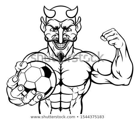 şeytan futbol futbol spor maskot Stok fotoğraf © Krisdog