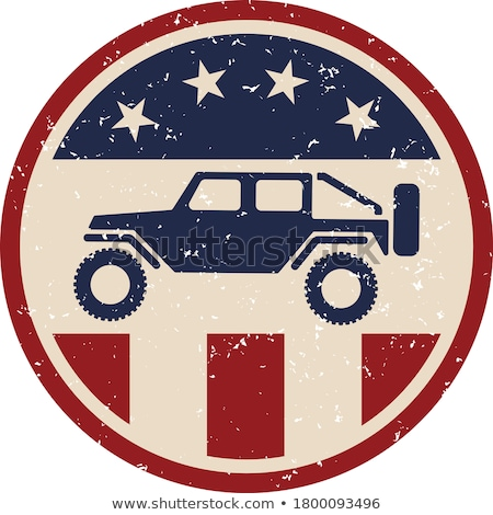 Off road 4x4 vehicle with USA flag and black isolated vector illustration Stock photo © jeff_hobrath