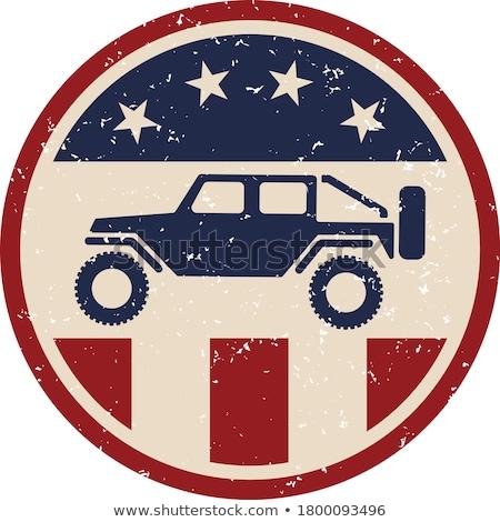 дороги 4x4 автомобиль США флаг Сток-фото © jeff_hobrath