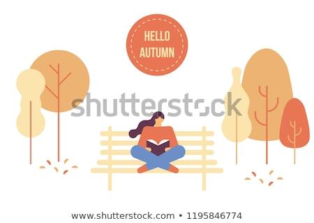 Női olvas irodalom ősz park vektor Stock fotó © robuart