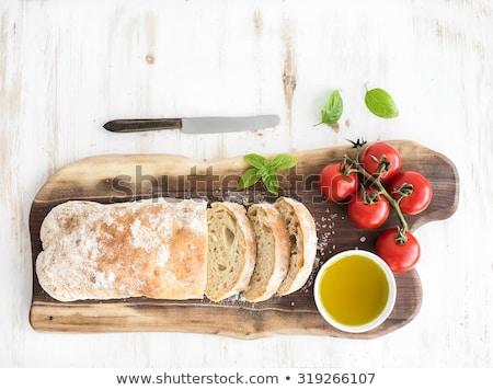 イタリア語 · 白パン · 新鮮な · 食品 · 緑 · 黒 - ストックフォト © Alex9500