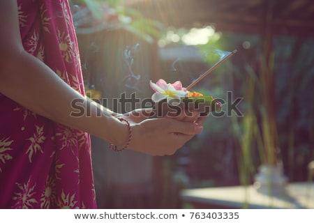 Hagyományos Bali virágok aromás zöld kő Stock fotó © galitskaya