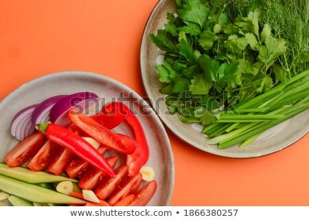 Friss zöldség válogatás fehér növényzet vág bors Stock fotó © vkstudio