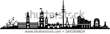 Hamburg zwart wit silhouet eenvoudige toerisme Stockfoto © ShustrikS