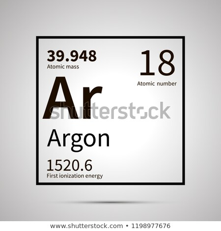 Argon chemical element with first ionization energy and atomic mass values ,simple black icon with s Stock photo © evgeny89