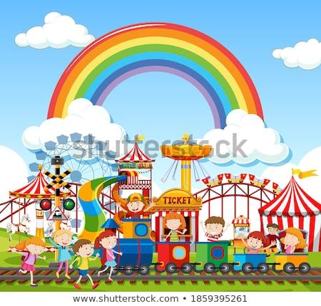 Vergnügungspark Szene Tageszeit Regenbogen Himmel Illustration Stock foto © bluering