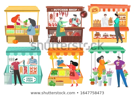 Woman buying bread from market stall Stock photo © photography33