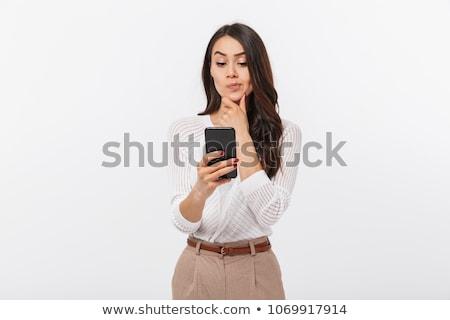 pensando · teléfono · mujer · blanco · mujer · teléfono · trabajo - foto stock © ilolab
