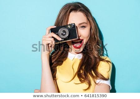 Lány öreg kamera szőke kislány játék Stock fotó © taden