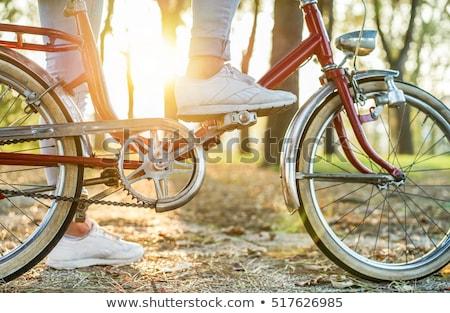 Foto stock: Vintage · italiano · estilo · bicicleta · branco · cidade