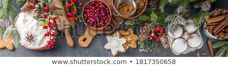 Karácsony gyümölcstorta ünnepi dekoráció csillagok reggeli Stock fotó © Digifoodstock