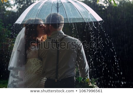 beautiful couple waking in summer park stock photo © deandrobot