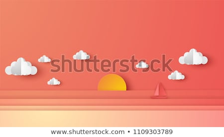 Stockfoto: Ship Floating On The Sunset Background