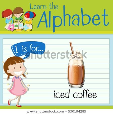 I betű jeges kávé illusztráció gyerekek gyermek Stock fotó © bluering