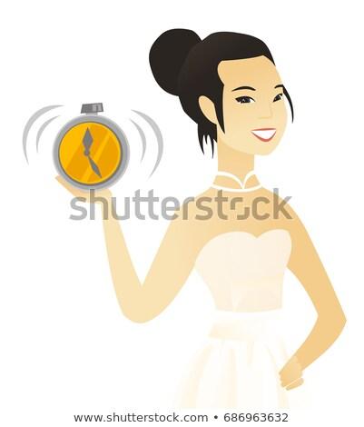 Asian verloofde wekker witte jurk tonen Stockfoto © RAStudio