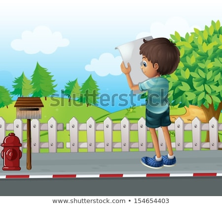 Man reading the map near the wooden fence Stock photo © wavebreak_media