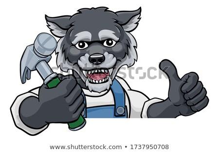 Сток-фото: Wolf Cartoon Character Mascot Peeking Around Sign