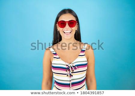 かわいい · 女性 · 着用 · サングラス · 空 · 水 - ストックフォト © hsfelix