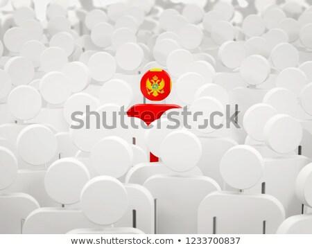 Man vlag Montenegro menigte 3d illustration teken Stockfoto © MikhailMishchenko
