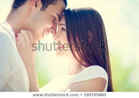 zwangere · vrouw · liefhebbend · man · poseren · najaar · park - stockfoto © boggy