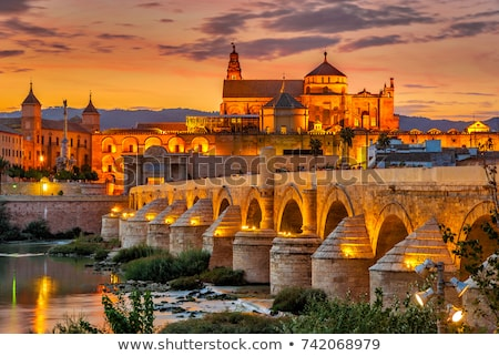 римской моста закат Церкви синий Восход Сток-фото © benkrut