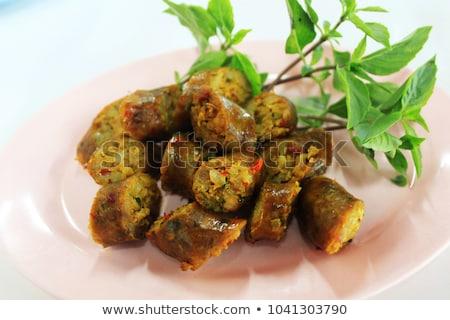 Foto stock: Thai · vermelho · caril · salsichas · jantar · carne