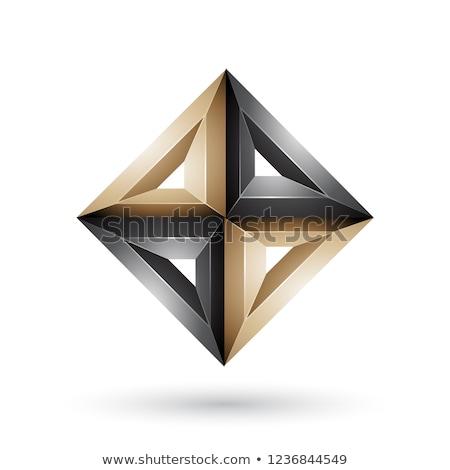 Beige zwarte 3D meetkundig diamant vorm Stockfoto © cidepix