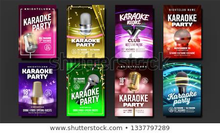 Karaoke poster ayarlamak vektör müzik gece Stok fotoğraf © pikepicture