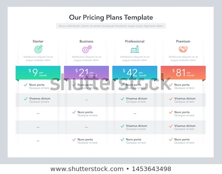 Product / service plan price comparison table  Stock fotó © orson