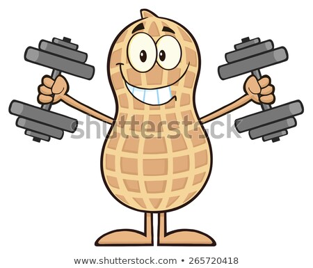 Smiling Peanut Cartoon Character Training With Dumbbells Stock photo © hittoon