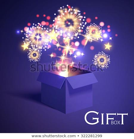 Kék kinyitott 3D valósághű ajándék doboz varázslatos Stock fotó © MarySan